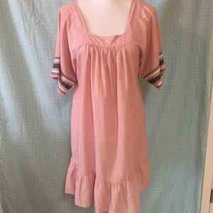 NWT J. Crew blush embroidered sleeve dress size s